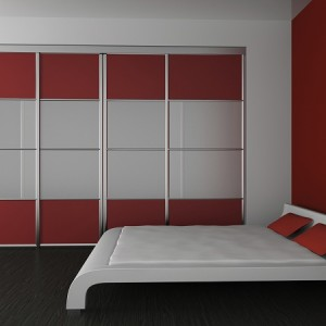 wardrobe and bed